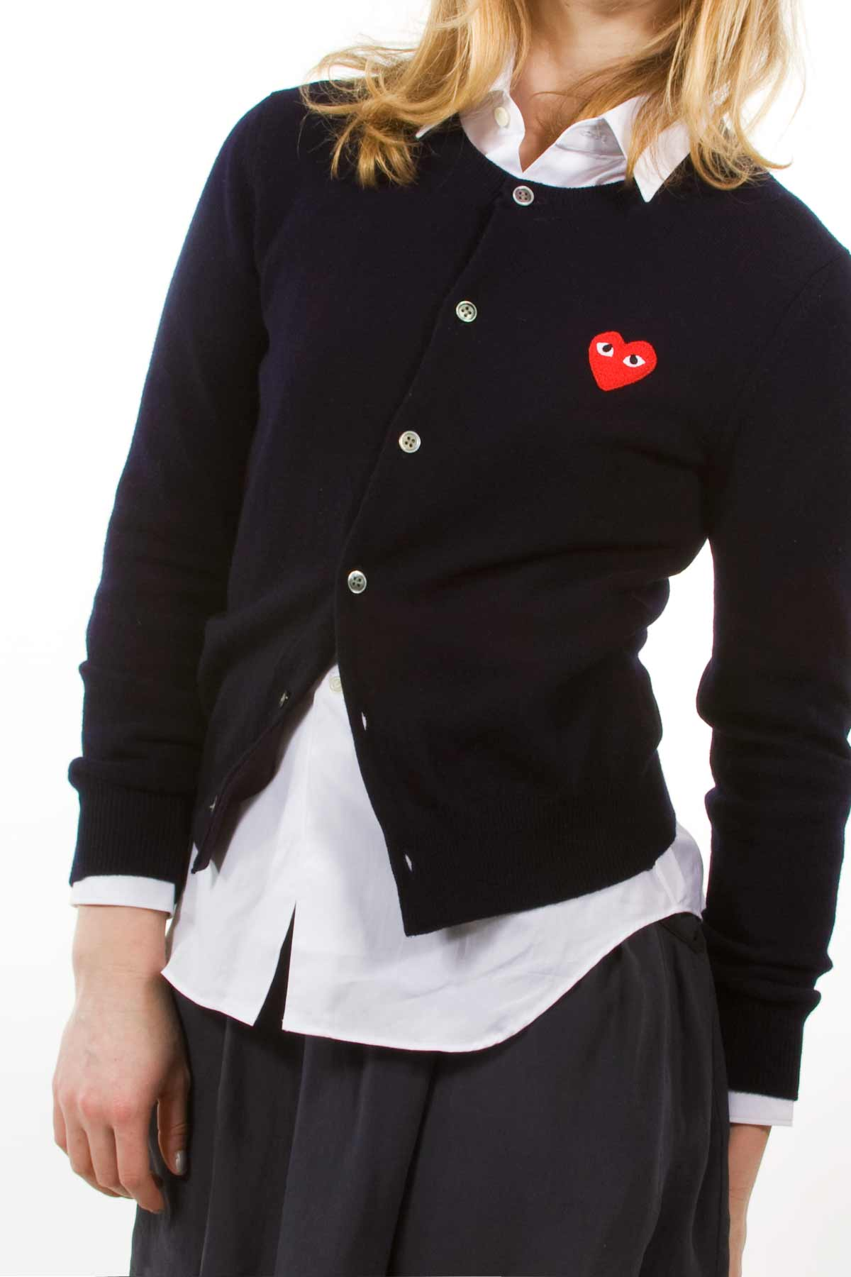 Comme des Garcons Play Lambswool Cardigan w/Red Emblem - WOMEN - OPENING CEREMONY