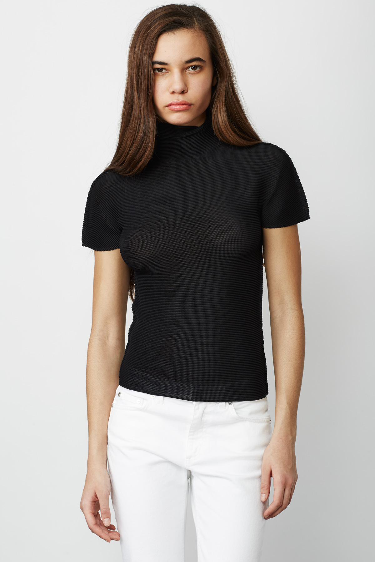 Cauliflower stretch pleated turtleneck t shirt women for Turtleneck under t shirt