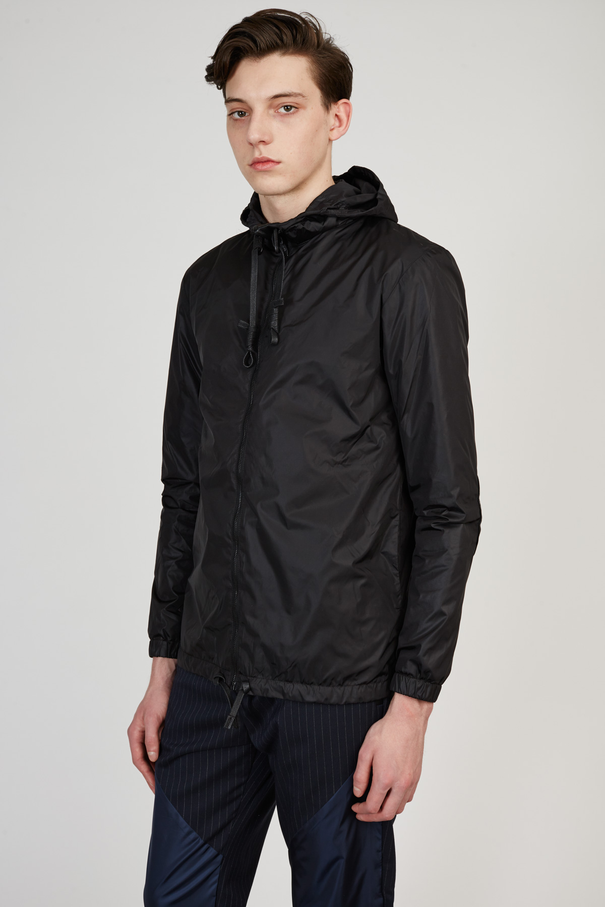 Prospekt supply matte nylon leather accents windbreaker for Hem satteldorf prospekt