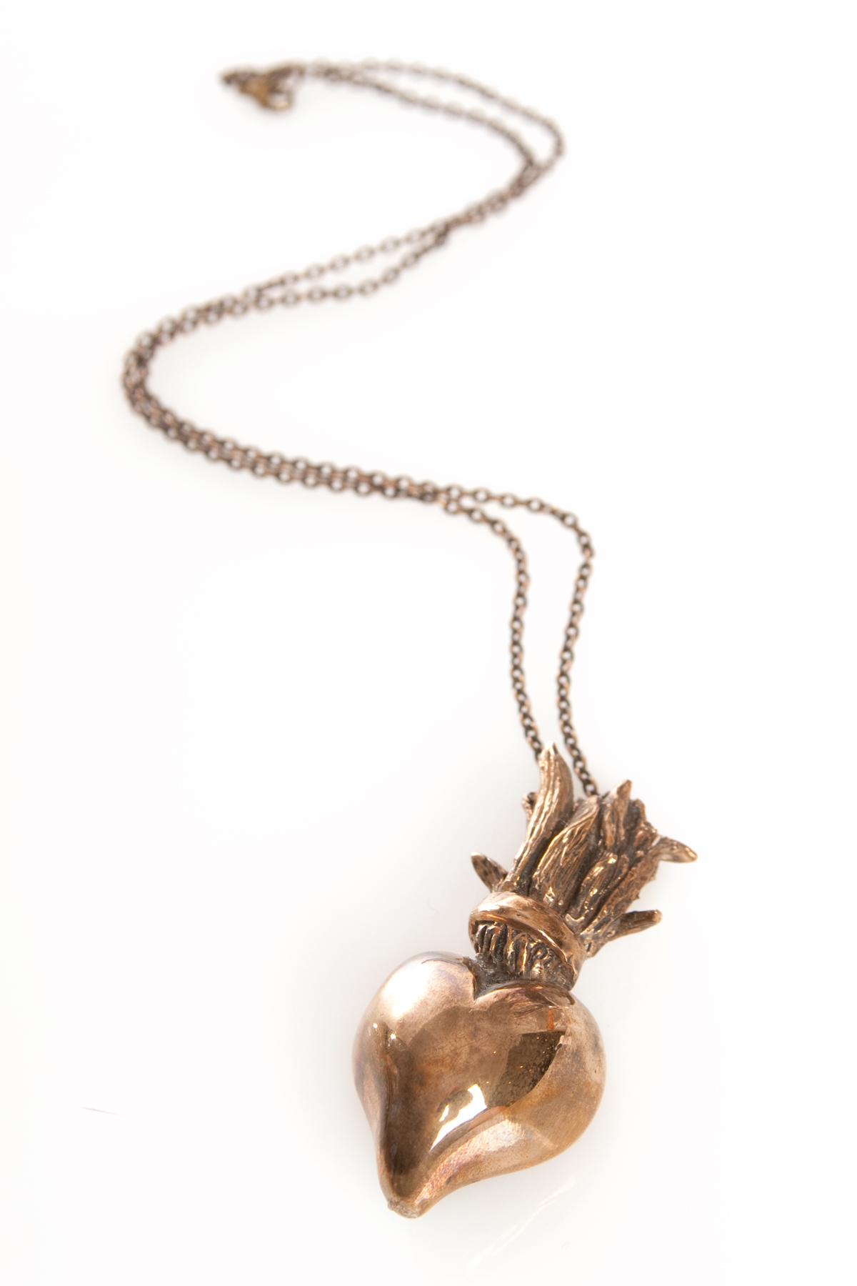 Pamela love small sacred heart necklace bronze plssh1 for Pamela love jewelry designer